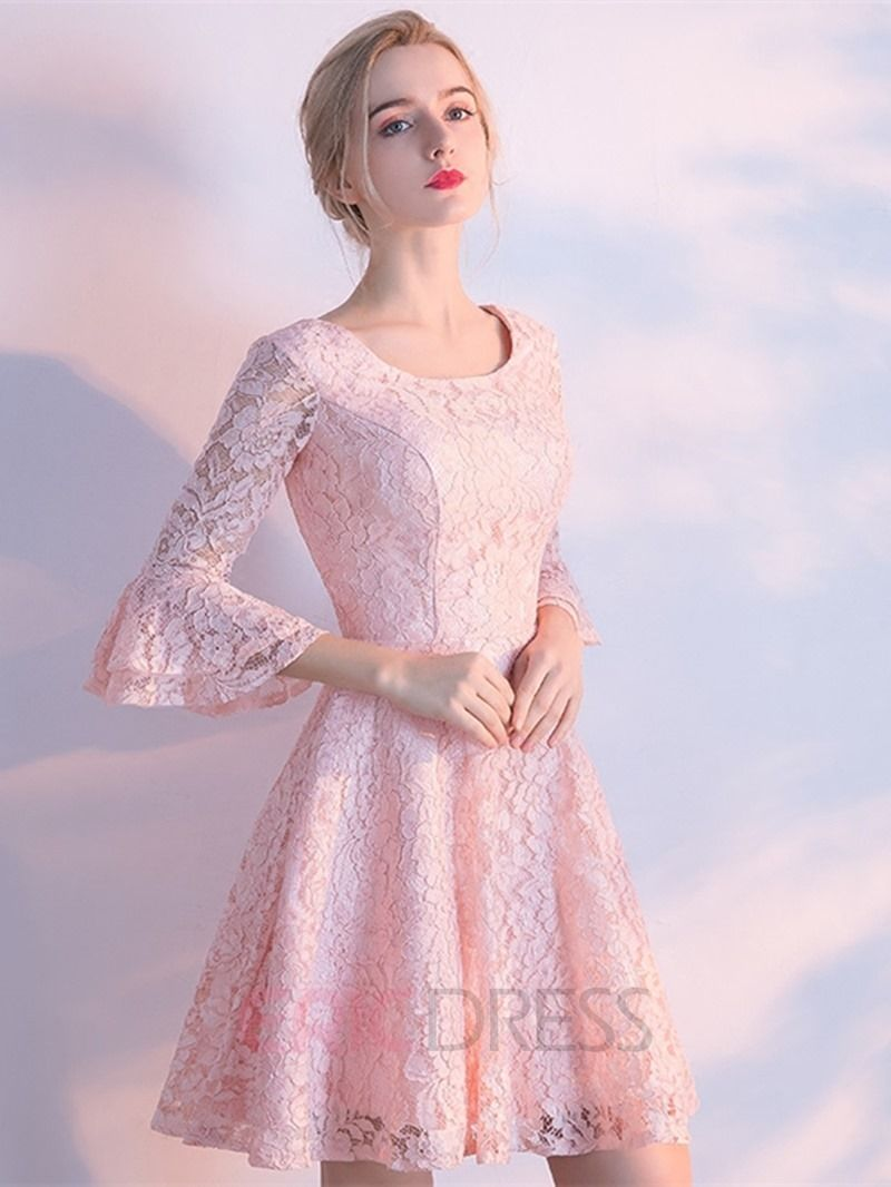 Short A Line 3/4 Sleeve Knee Length Lace Homecoming Dress   Vestiditos