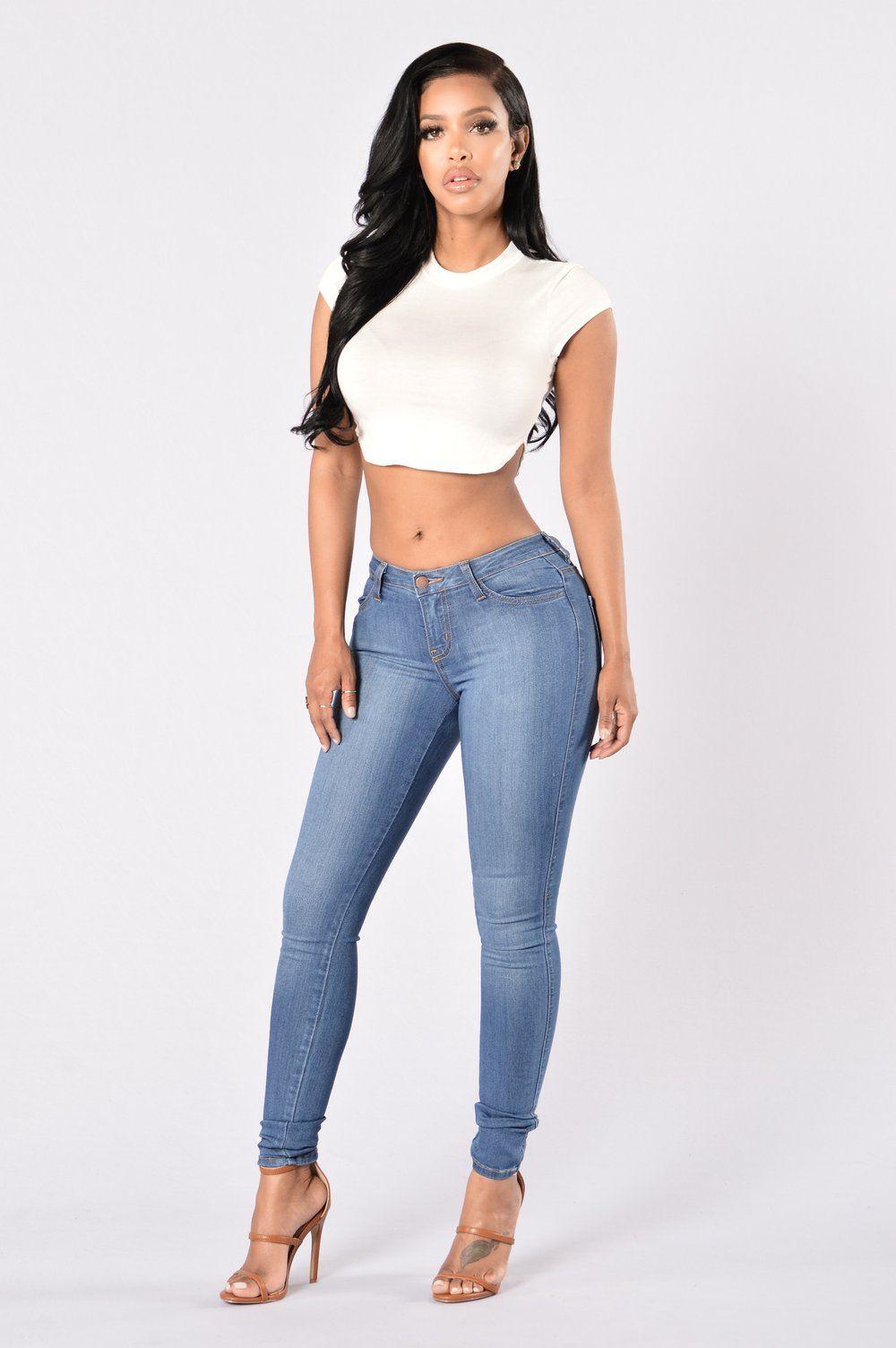 Classic Mid Rise Skinny Jeans Medium Blue Wash Mid Rise Skinny Jeans Skinny Jeans Fashion