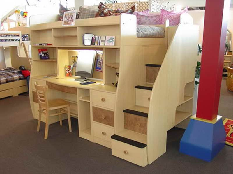 How To Build A Loft Bed With Desk Underneath With Brown Carpet