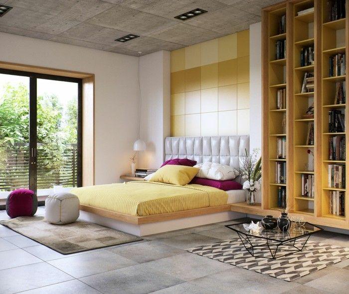 ideen für wandgestaltung schlafzimmer gestalten akzentwand lila - moderne wandgestaltung wohnzimmer lila