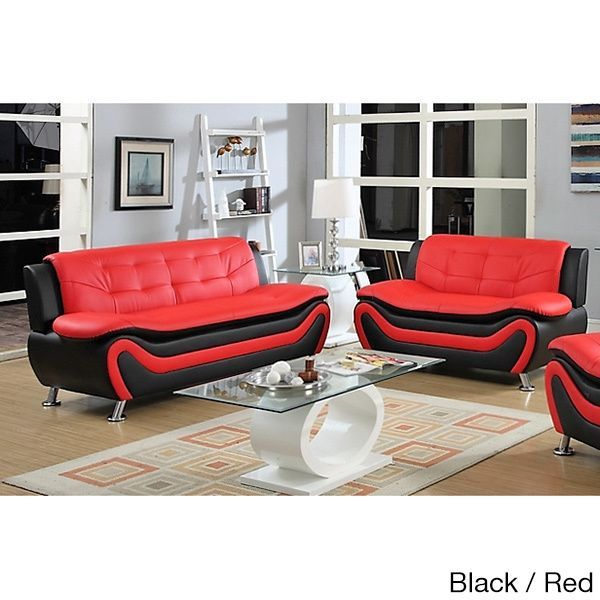 Ellena Faux Black Red White Leather Modern Living Room Sofa And