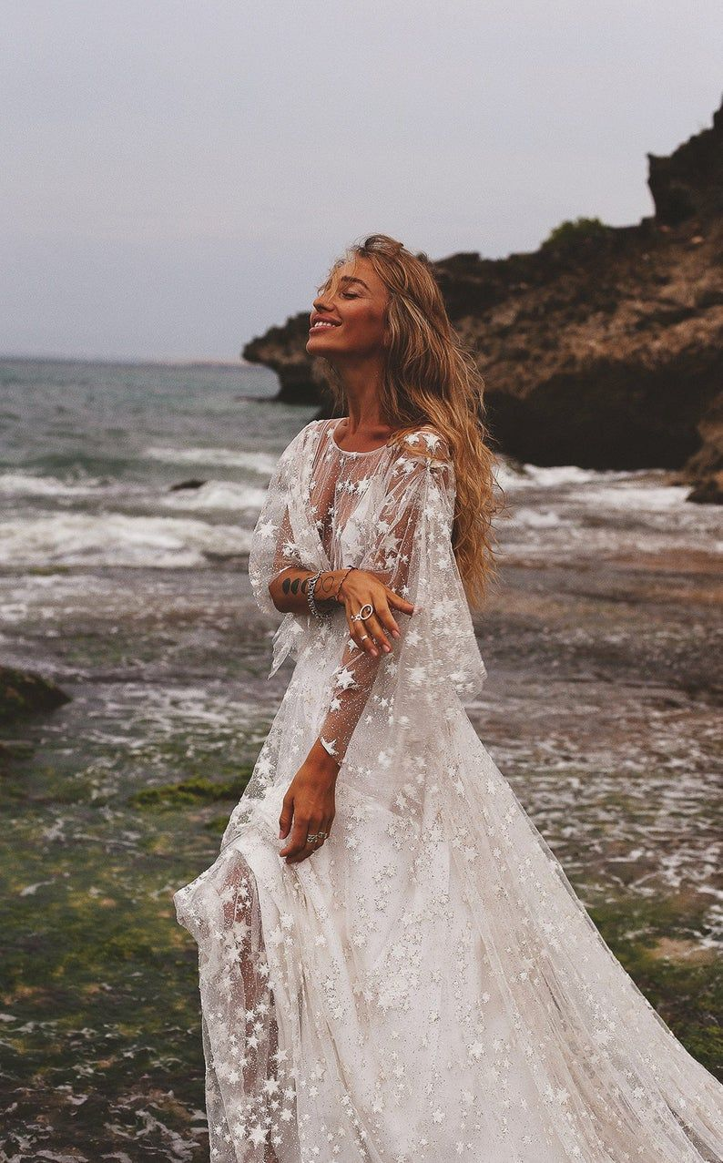 Counting Stars Boho Wedding Dress by Boom Blush. Unique Vintage Bohemian Backless Gown 2019 with Sleeves, Unique Lace and A Line Skirt #bohoweddingdress
