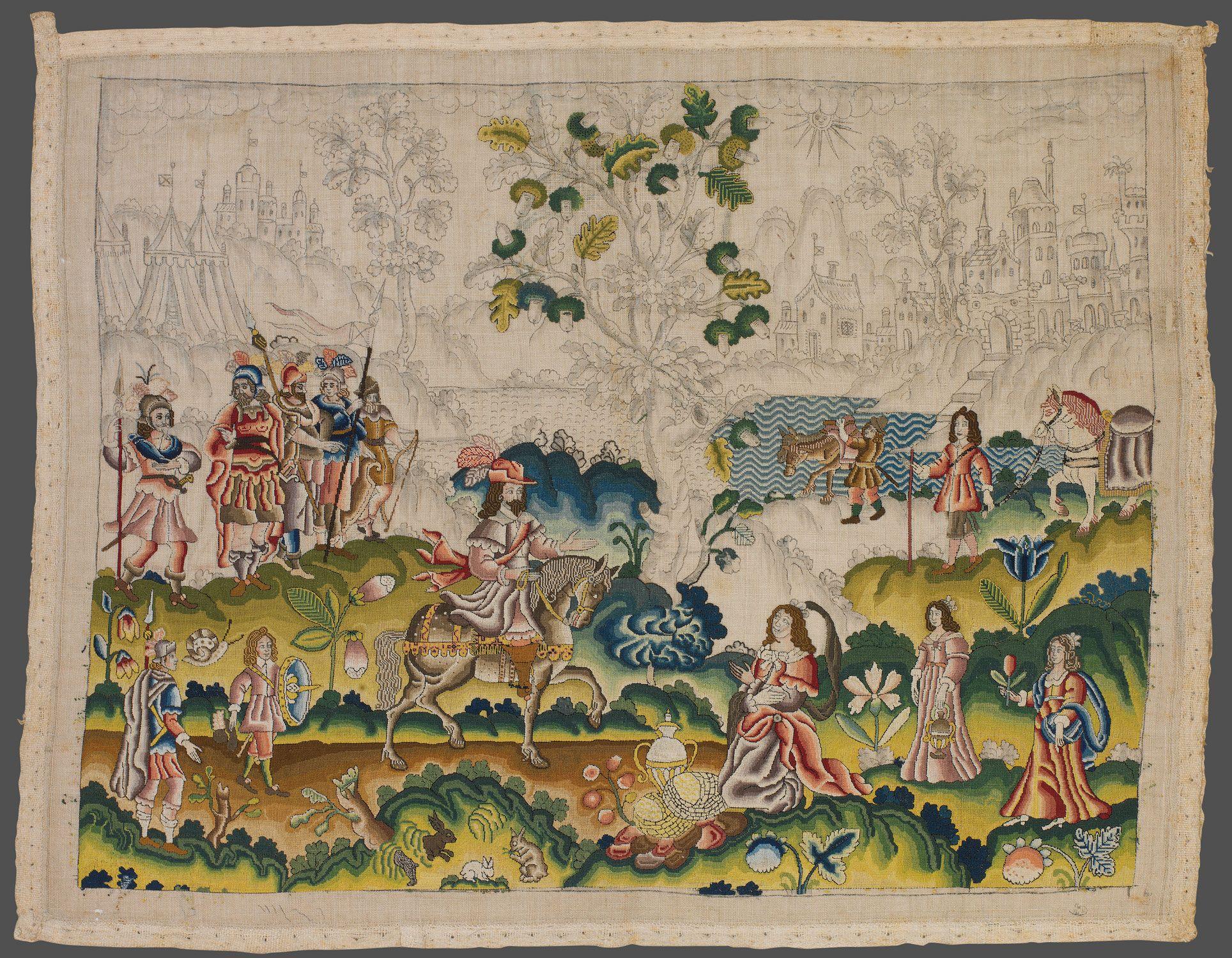 David and abigail needlework panel british mid th century the
