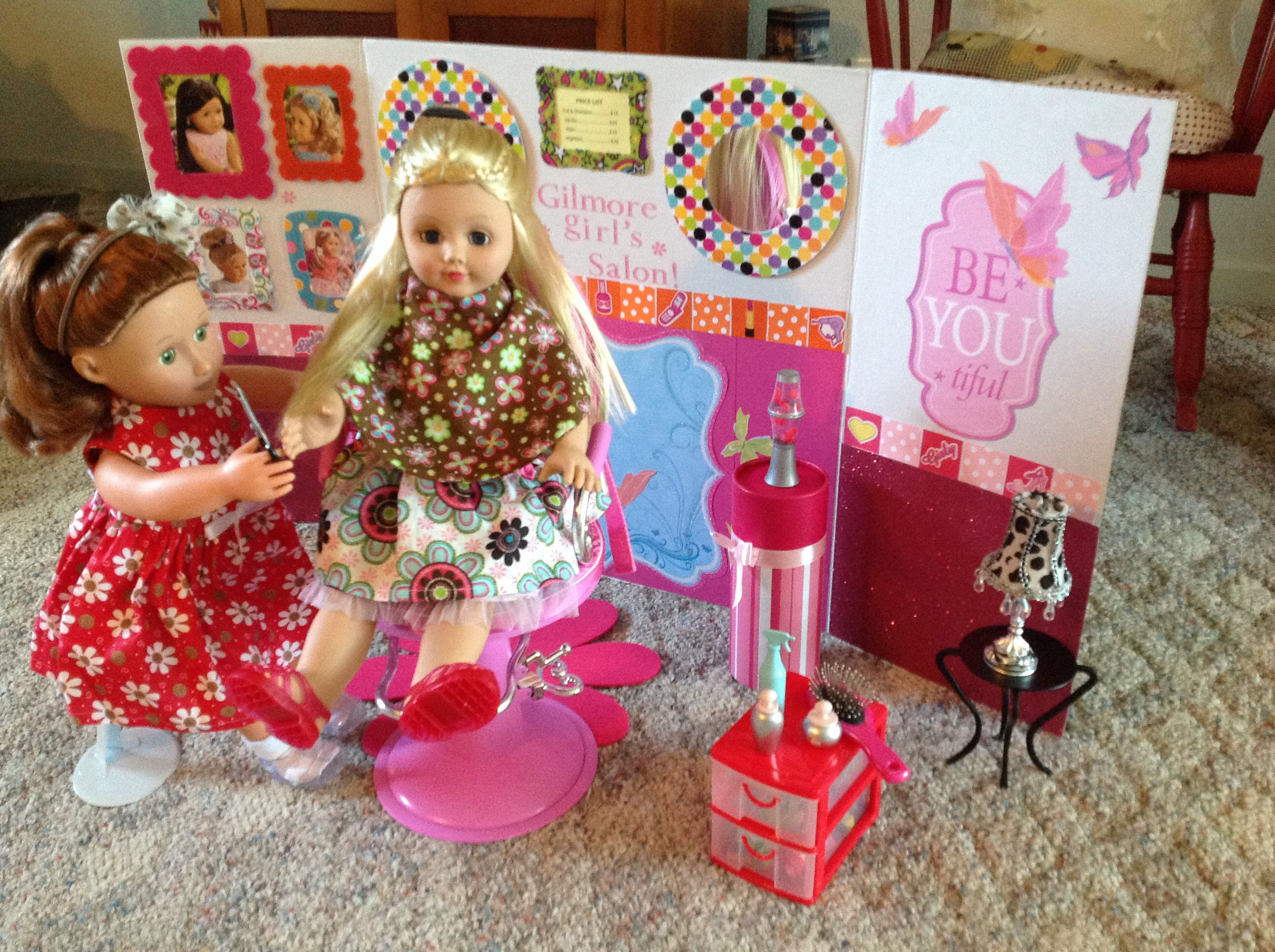 American Girl Doll Hair Salon Made With 3 Fold Project Board Add Scrapbook Paper Of American Girl Doll Furniture My American Girl Doll American Girl Doll Diy