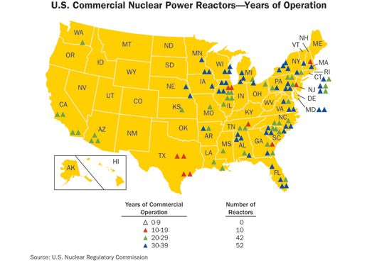 This a map showing the number of nuclear reactors all over the u.s ...