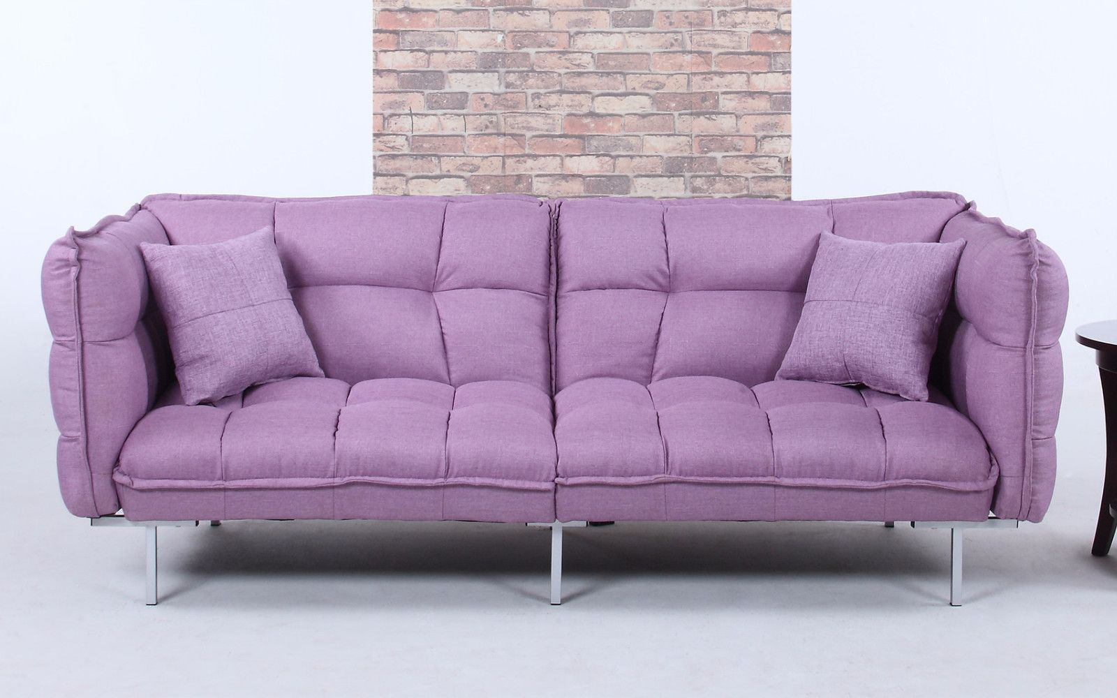 Modern Plush Tufted Linen Splitback Living Room Sleeper Futon Purple Futon Modern Fabric Sofa Tufted Couch