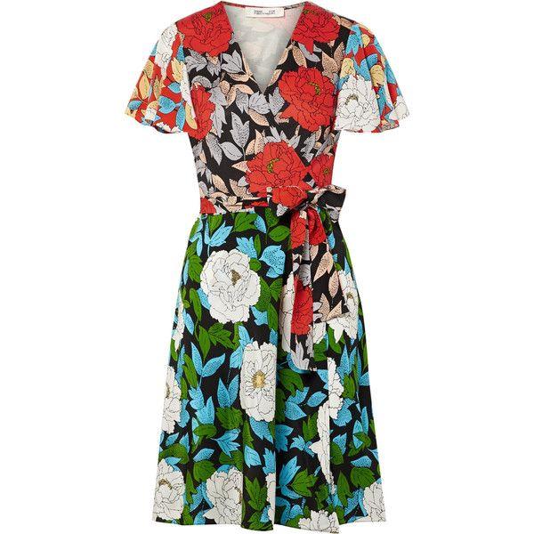 Printed Silk Crepe De Chine Wrap Dress - Green Diane Von F MKuVk