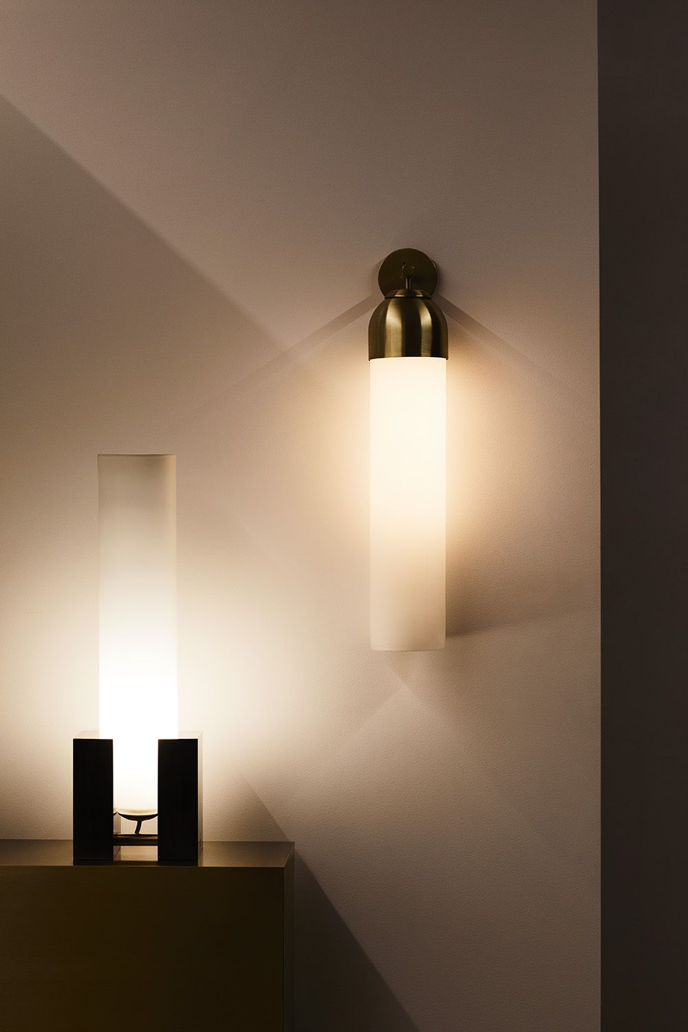 Articolo Float Capped Wall Sconce And Float Standing Tall Table