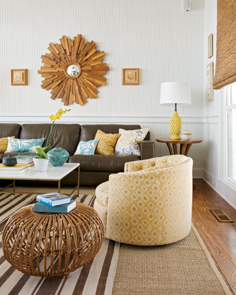 Living Room Design With Sectional Sofa Brilliant Suzie Angie Hranowski  Eclectic Brown & Yellow Living Room Decorating Inspiration