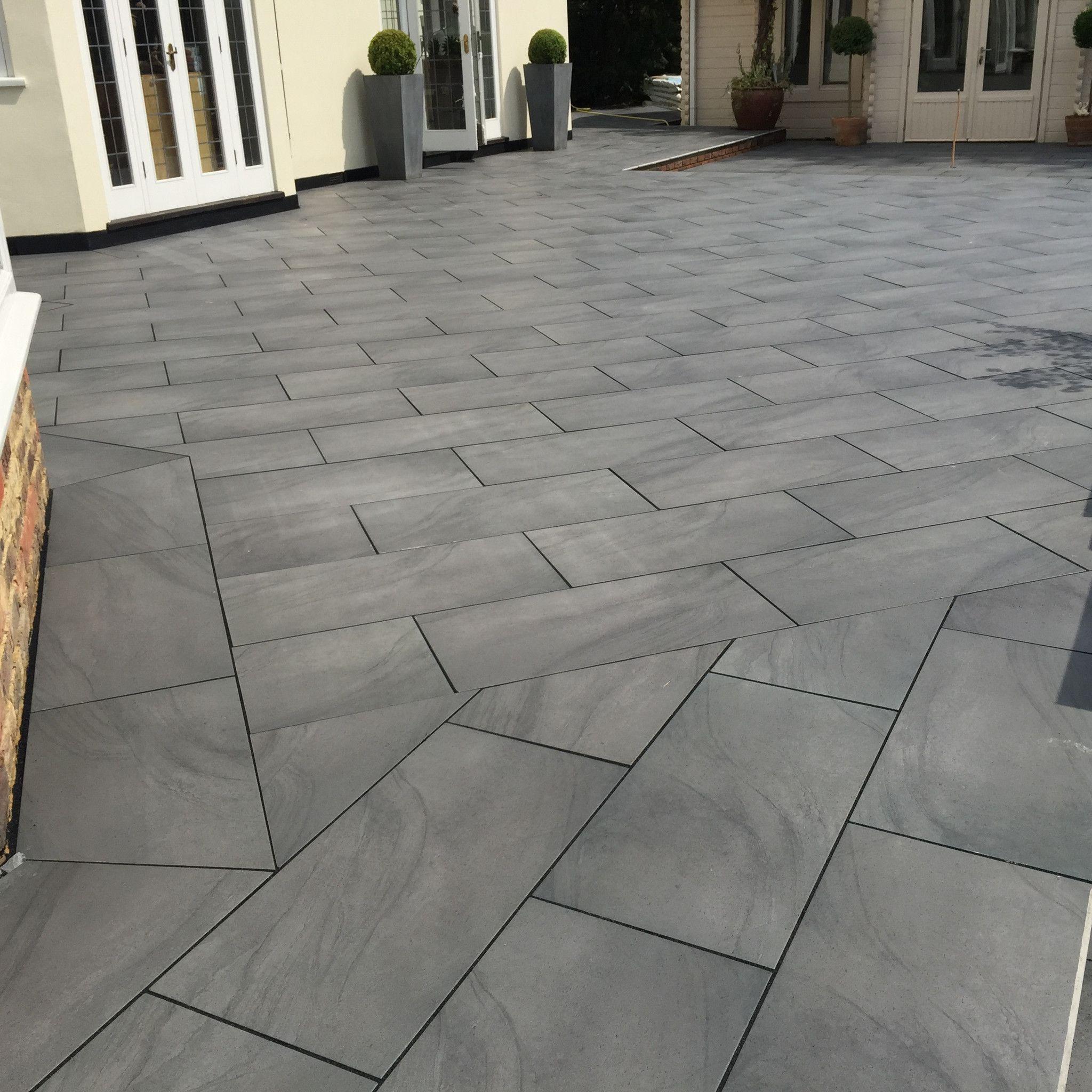 Beautiful External Patio Grey Tiles In Running Bond Pattern