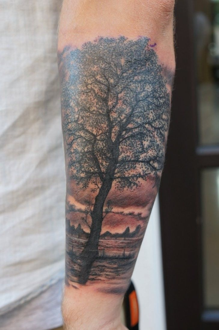 Realistic Tree Tattoo By Graynd Forearm Tattoos Cool Forearm Tattoos Tattoos For Guys