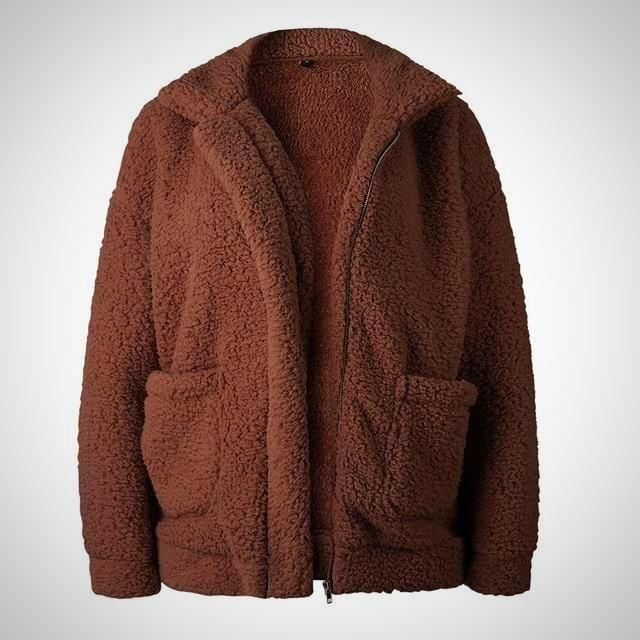 817a33641c3 Women Plus Size Comfy Warm Long Sleeve Fleece Jacket. Women Plus Size Comfy  Warm Long Sleeve Fleece Jacket Faux Fur Material