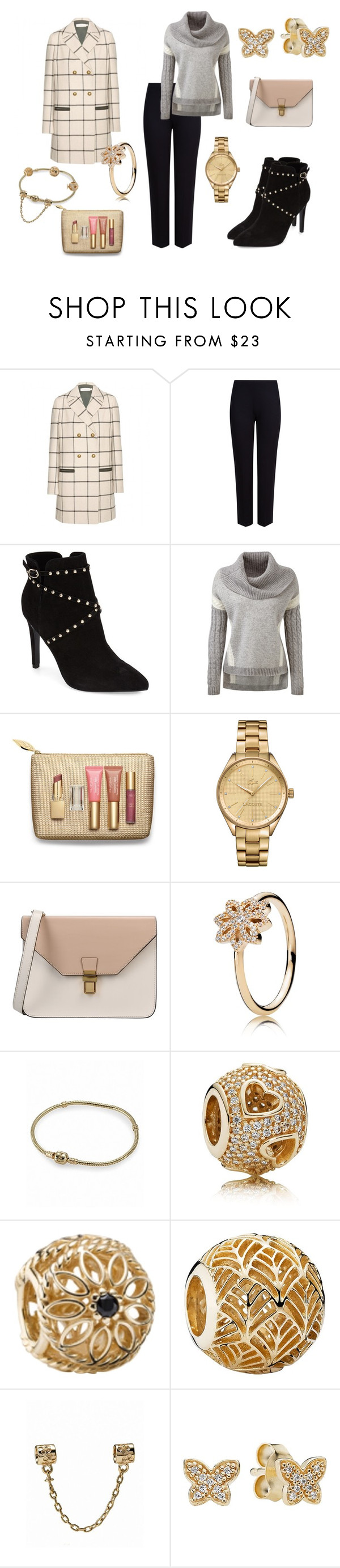 """""""Poise"""" by aniri310 on Polyvore featuring Tory Burch, M&S Collection, Topshop, Clarins, Lacoste, 8 and Pandora"""