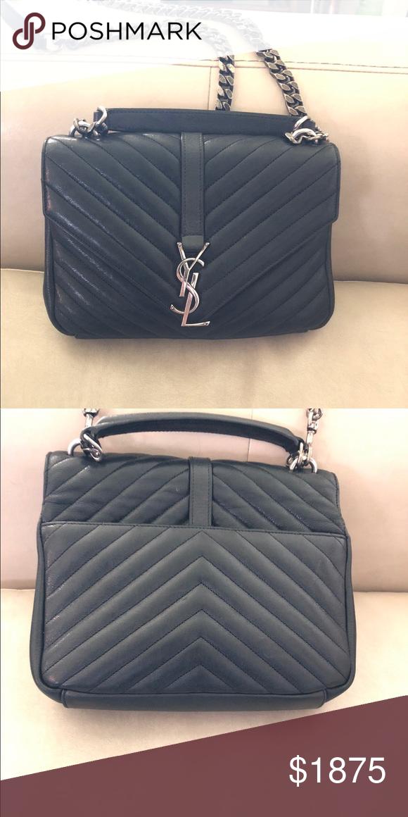 9e3e3dff307 YSL Medium College Bag YSL medium college bag in black matelasse leather  with grey mirror like