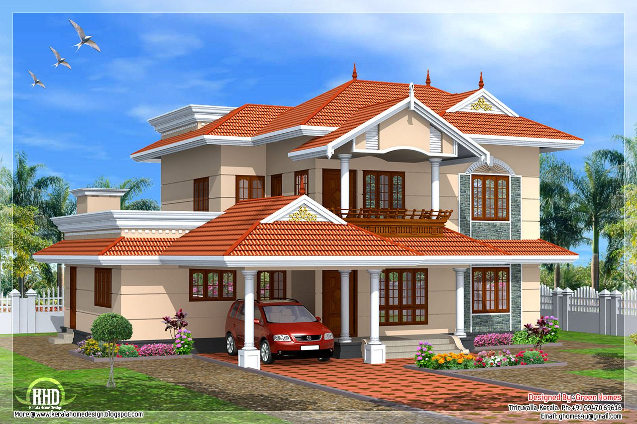 new homes styles design. Architecture Kerala Square Feet House Plan Style Design  With Mansion White Walls And Blue Roof Tile Also Wooden Glass Wind