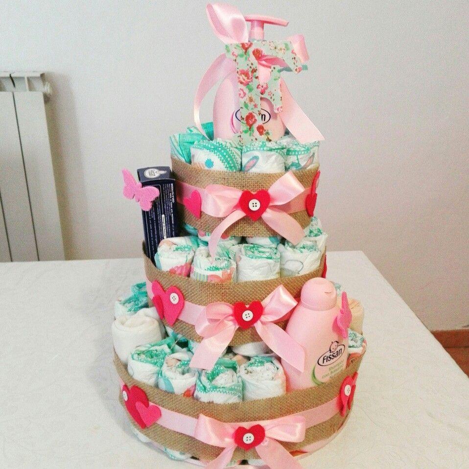 torta di pannolini - diapercake - idee nascita - regalo nascita - newborn