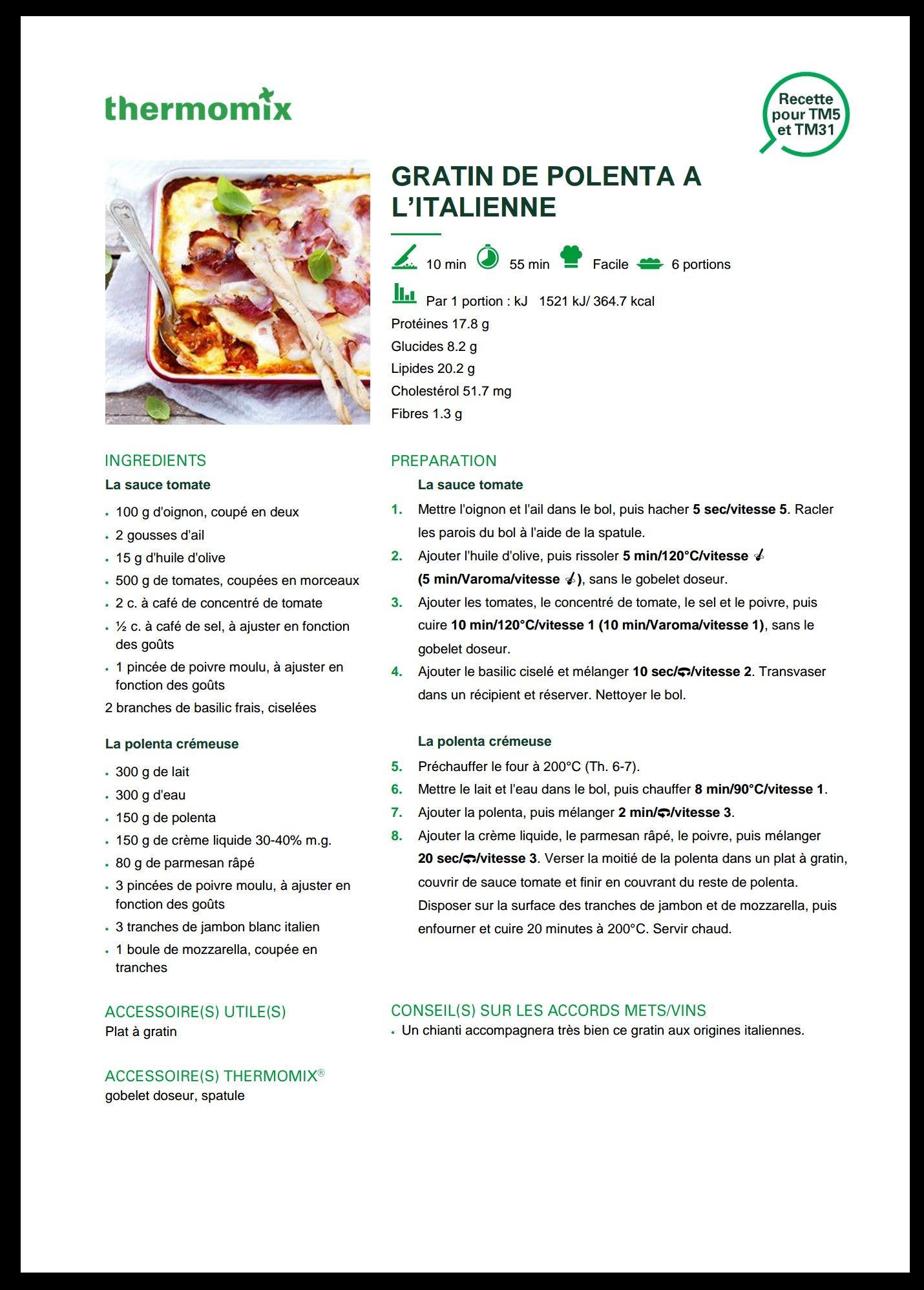 gratin de polenta thermomix recette