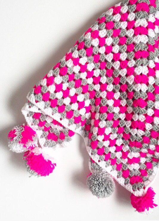 Crochet granny square blanket pompom corners neon pink grey white ...