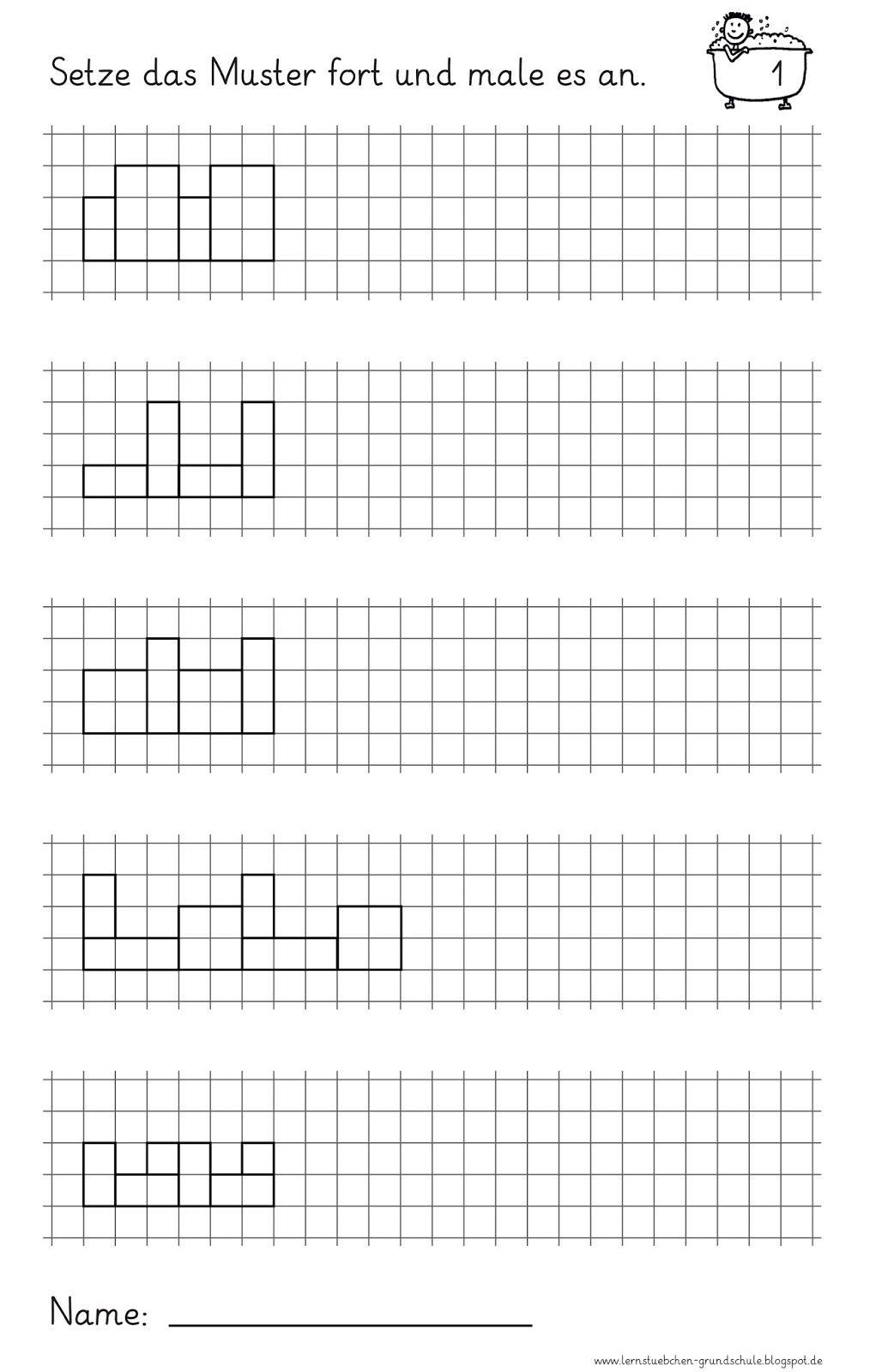lernst bchen muster fortsetzen und anmalen mathe 1 klasse schule arbeitsbl tter vorschule. Black Bedroom Furniture Sets. Home Design Ideas