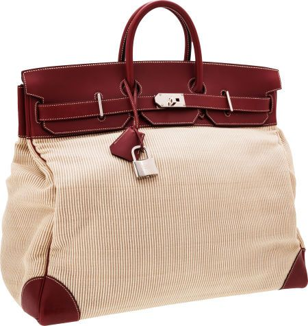 ea3c5f8c523 Hermès 50cm Rouge H Chamonix Leather & Crinoline HAC Travel Birkin Bag with Palladium  Hardware