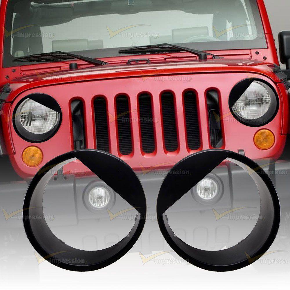 For 07 16 Jeep Wrangler Jk Angry Eyes Matte Black Headlight Cover Bezel Eyelids Vimpression Black Headlights Jeep Wrangler Jk Headlight Covers