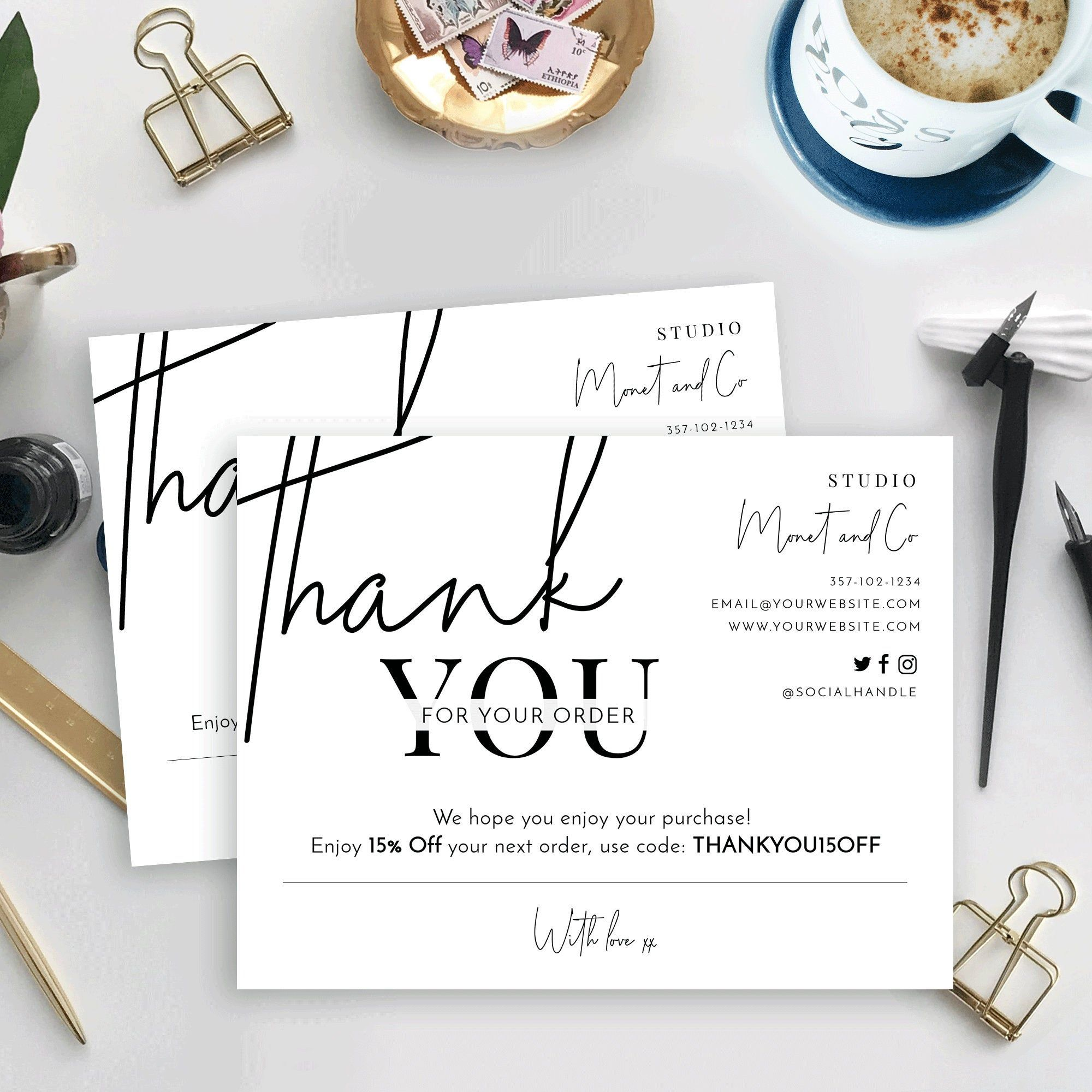 Minimalist Thank You For Your Order Card Template Thank You Etsy Kartu Nama Bisnis Kartu Nama Ide Kemasan