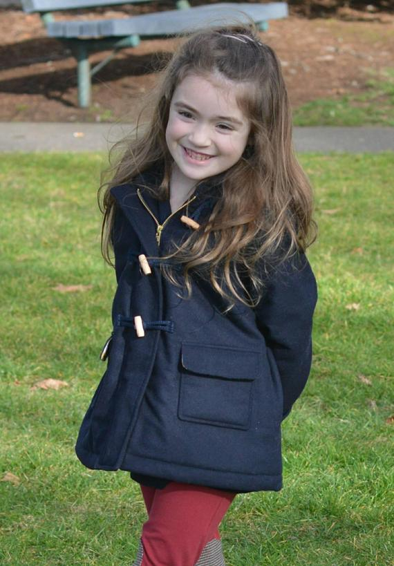 Girls Or Boys Wool Quilted Duffle Coat With Hood In Navy