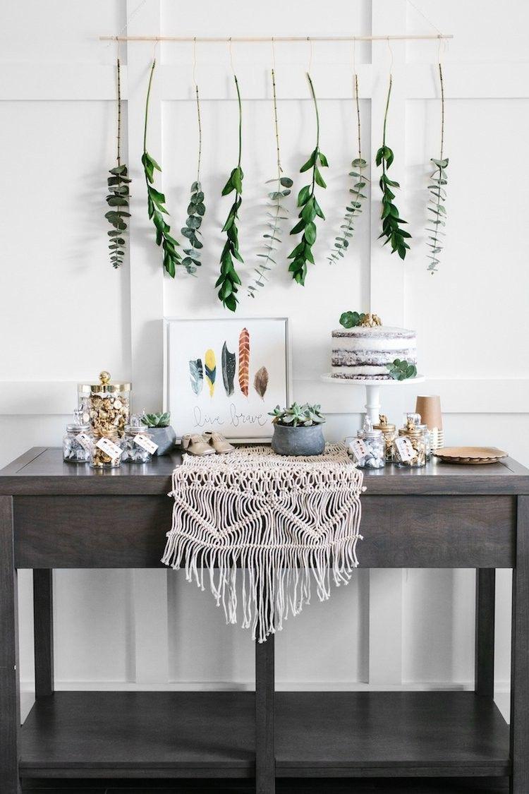 babyparty deko junge torte wanddeko bohemian style pflanzen family baby baby shower in 2019. Black Bedroom Furniture Sets. Home Design Ideas