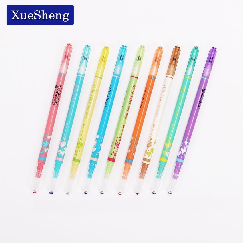 12 Pcs South Korea Stationery Double Color Fluorescence Pen Lovely