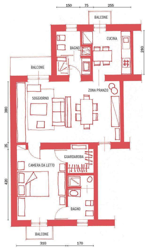 Casa Di 62 Mq, Resa Più Funzionale Ricavando Anche Il Secondo Bagno   Cose  Di Casa. Pianta