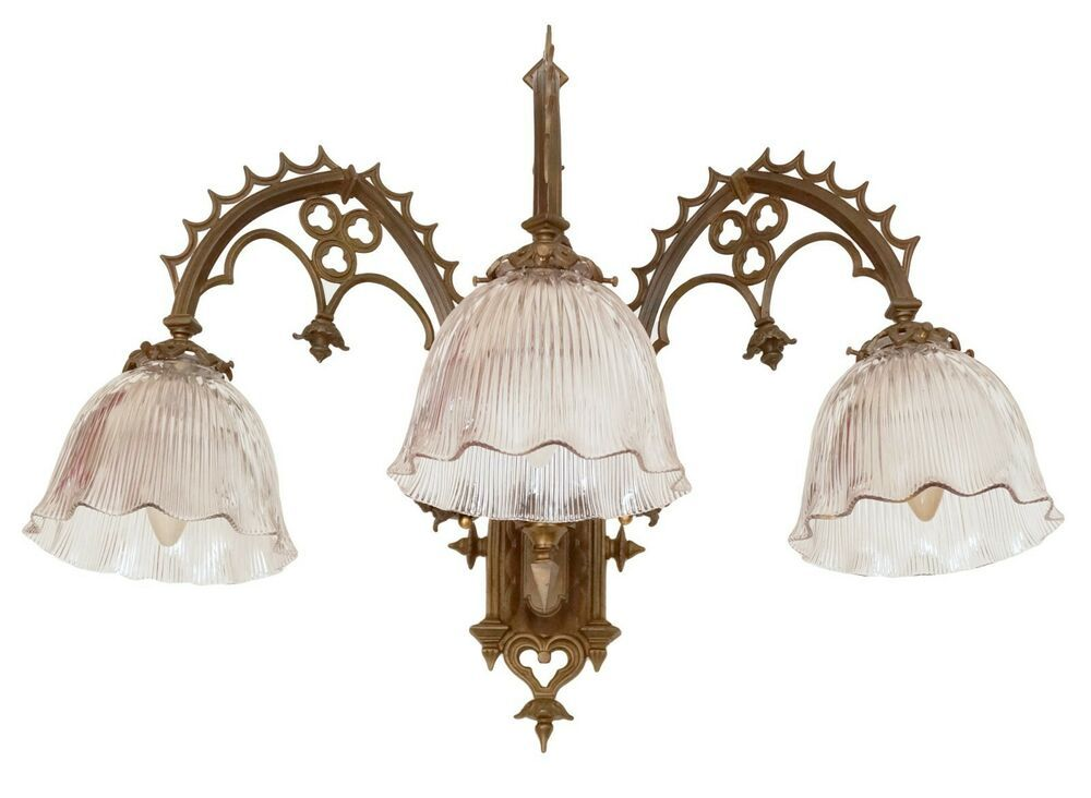 Sehr Grosse Original Grunderzeit Wandlampe Gotisch Gothic Messing 1890 Wandlampe Lampe Grunderzeit