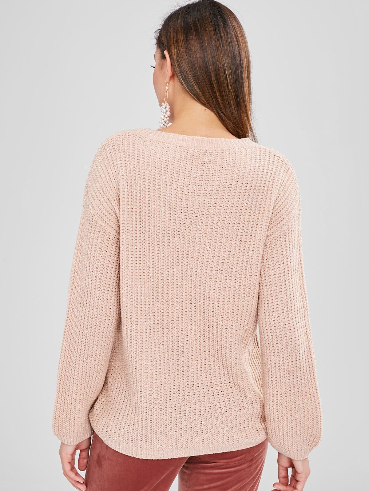 High Low Shiny Thread Sweater Light Pink Fashion Long Sweater Dress Sweaters