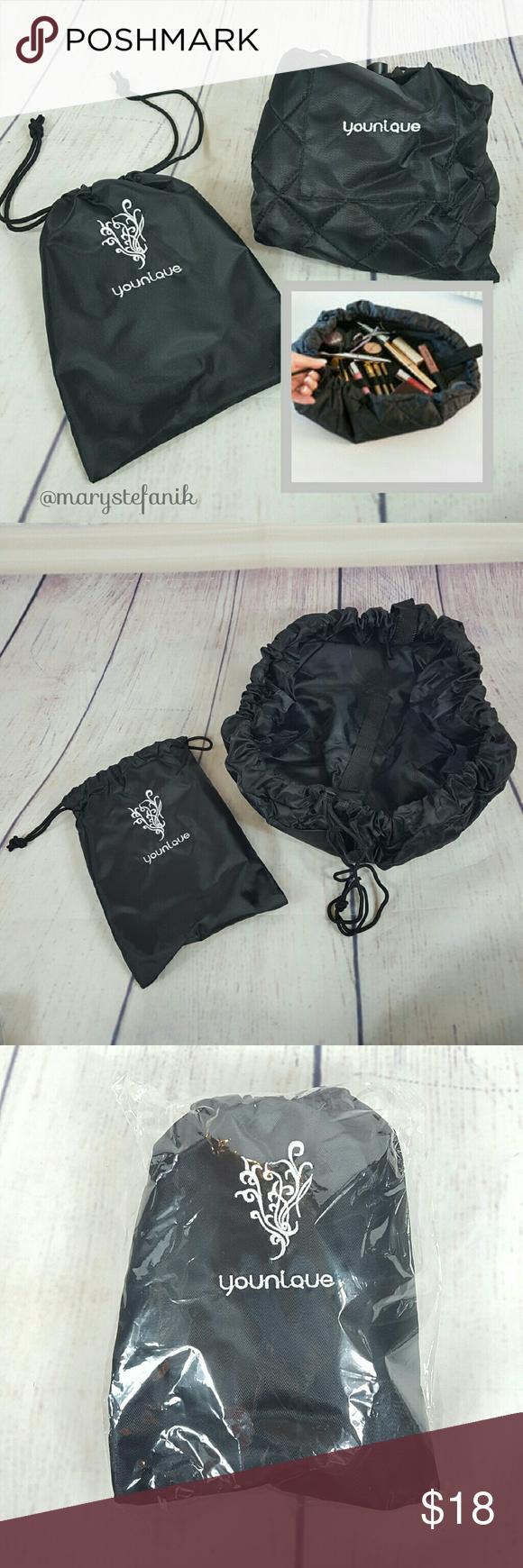 NIP Younique Drawstring Black Makeup Travel Bag 🆕 NIP