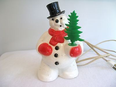 Vintage Light Up Christmas SNOWMAN Frosty Hard Plastic Blow Mold Tree Cord