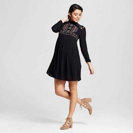 Women's Long-Sleeve Embroidered Dress Black L - Xhilaration ...