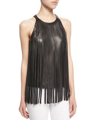 5e35988130c Sleeveless Leather Fringe Top by Cusp by Neiman Marcus at Neiman Marcus.