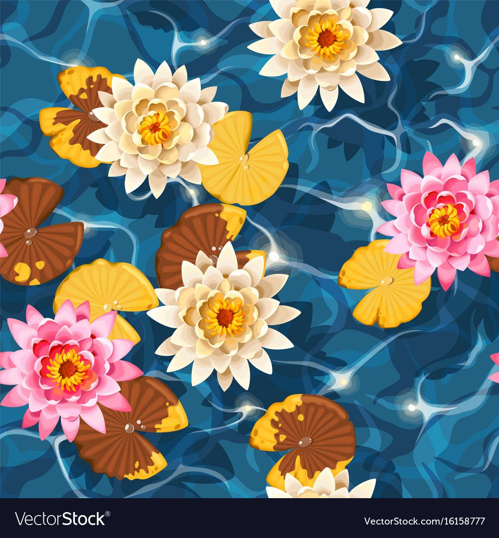 Seamless carps and lotus vector image on VectorStock in