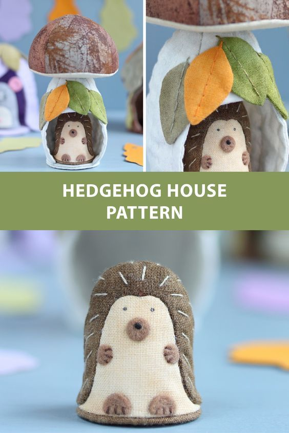 PDF Mushroom House and Hedgehog Sewing Pattern & Sewing Tutorial, Christmas Ornament Pattern, Nursery Decor Pattern, Toy Pattern