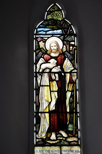 Cold Aston St Andrew north-west chancel window 'The Good Shepherd' Heaton, Butler and Baynes 1909 -75