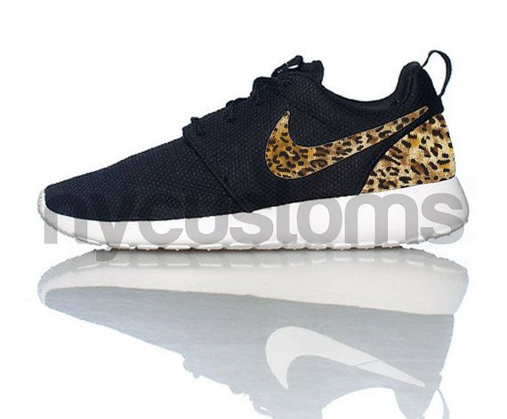 Nike Roshe Run Black White Brown Leopard Custom Men & Womens