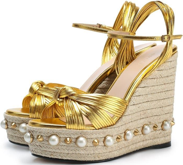 428a84aacdf79 Gucci Barbette studded espadrille wedge sandal