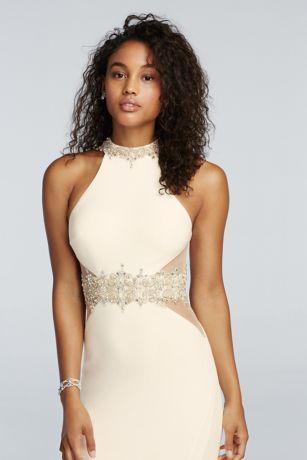 High Neck Halter Beaded Illusion Waist Prom Dress Style 1267 ...