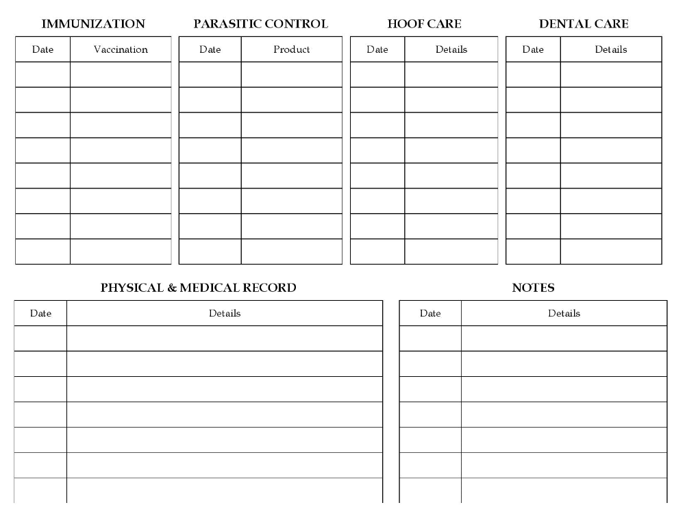 Horse Health Record Form Images Frompo Horse Health Horse Stalls Horses