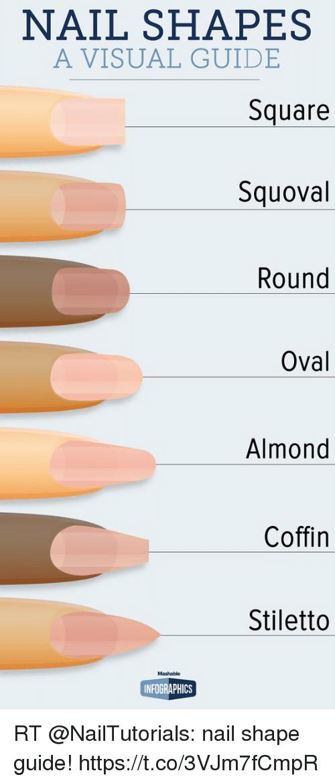 Nail Shapes A Visual Guide Square Squoval Round Oval Almond Coffin Nailsshape Nail Shapes A Visual G Square Oval Nails Squoval Nails Rounded Acrylic Nails