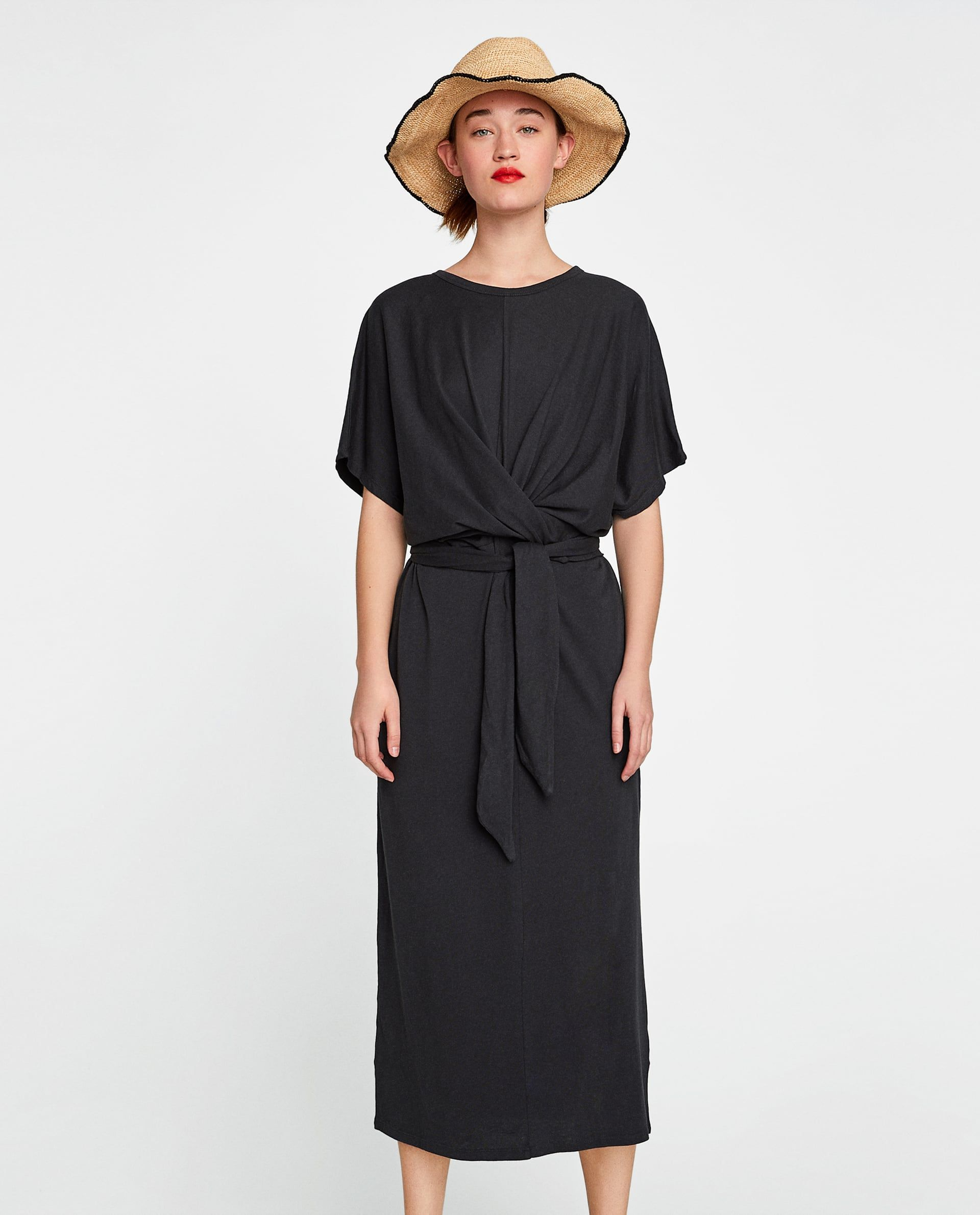 Zara Woman Long Dress With Knot Lange Kleider Modestil Professionelle Outfits