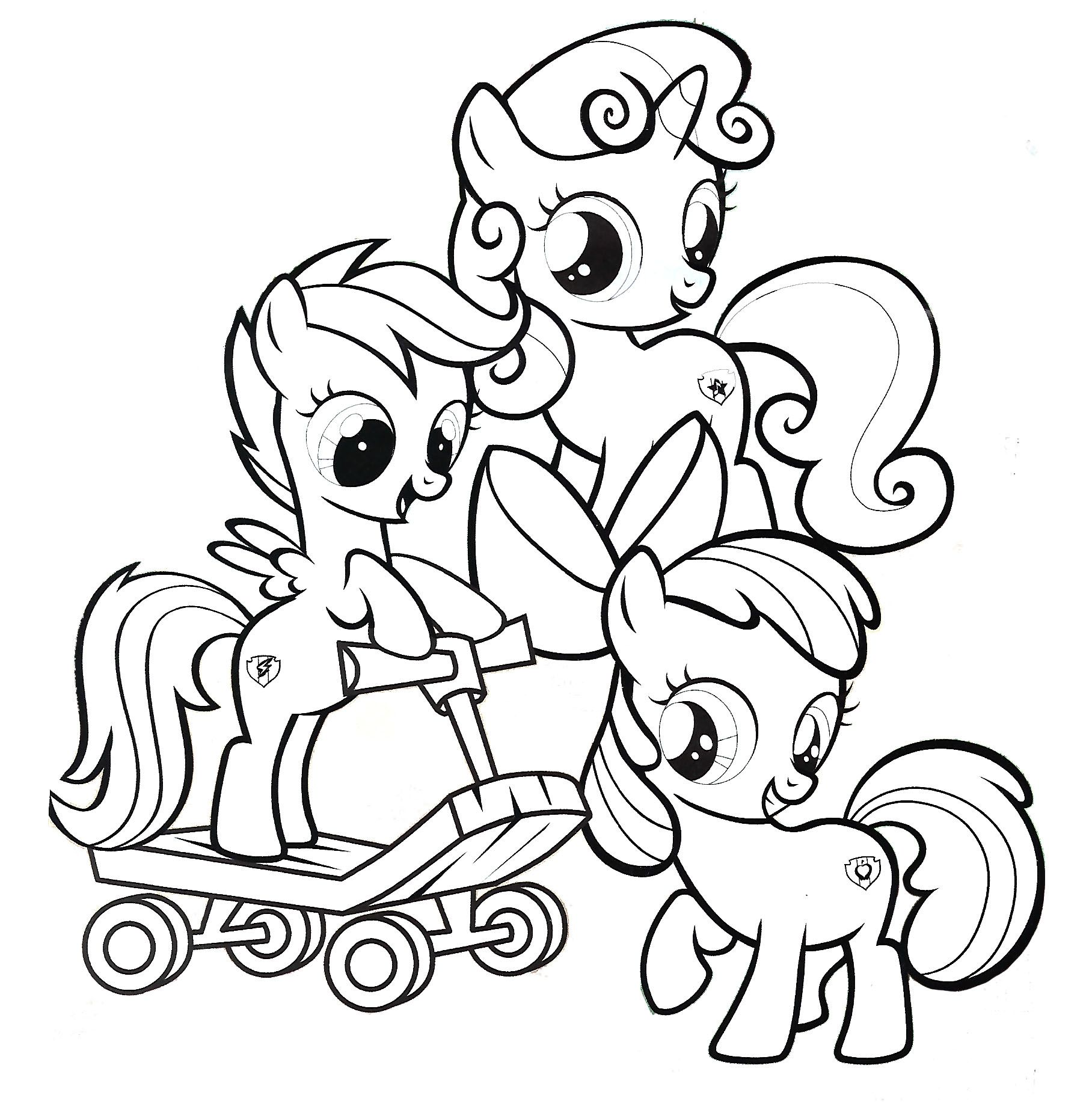 Cutie Mark Crusaders My Little Pony Coloring Page Horse