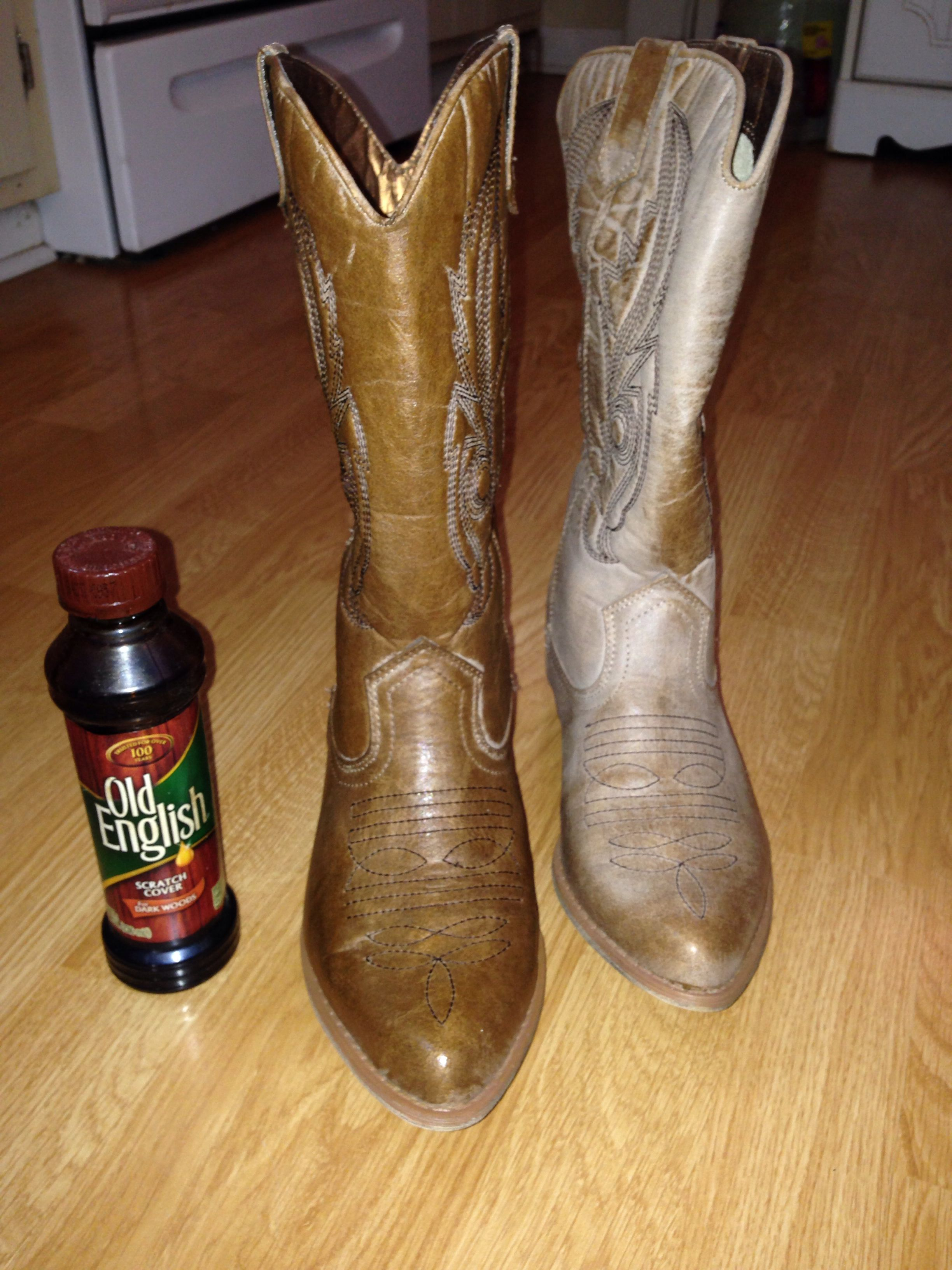 Revive Boots With Old English Furniture Polish. It Moisturizes And Restores  Color To Even Faux