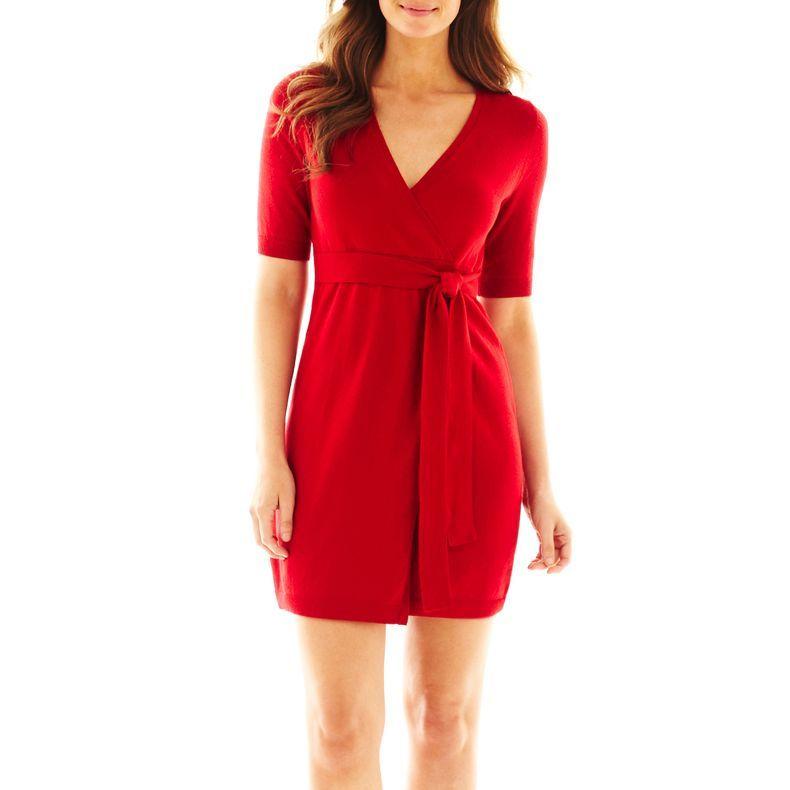 46deaa4296 jcpenney - Liz Claiborne Faux-Wrap Sweater Dress - jcpenney