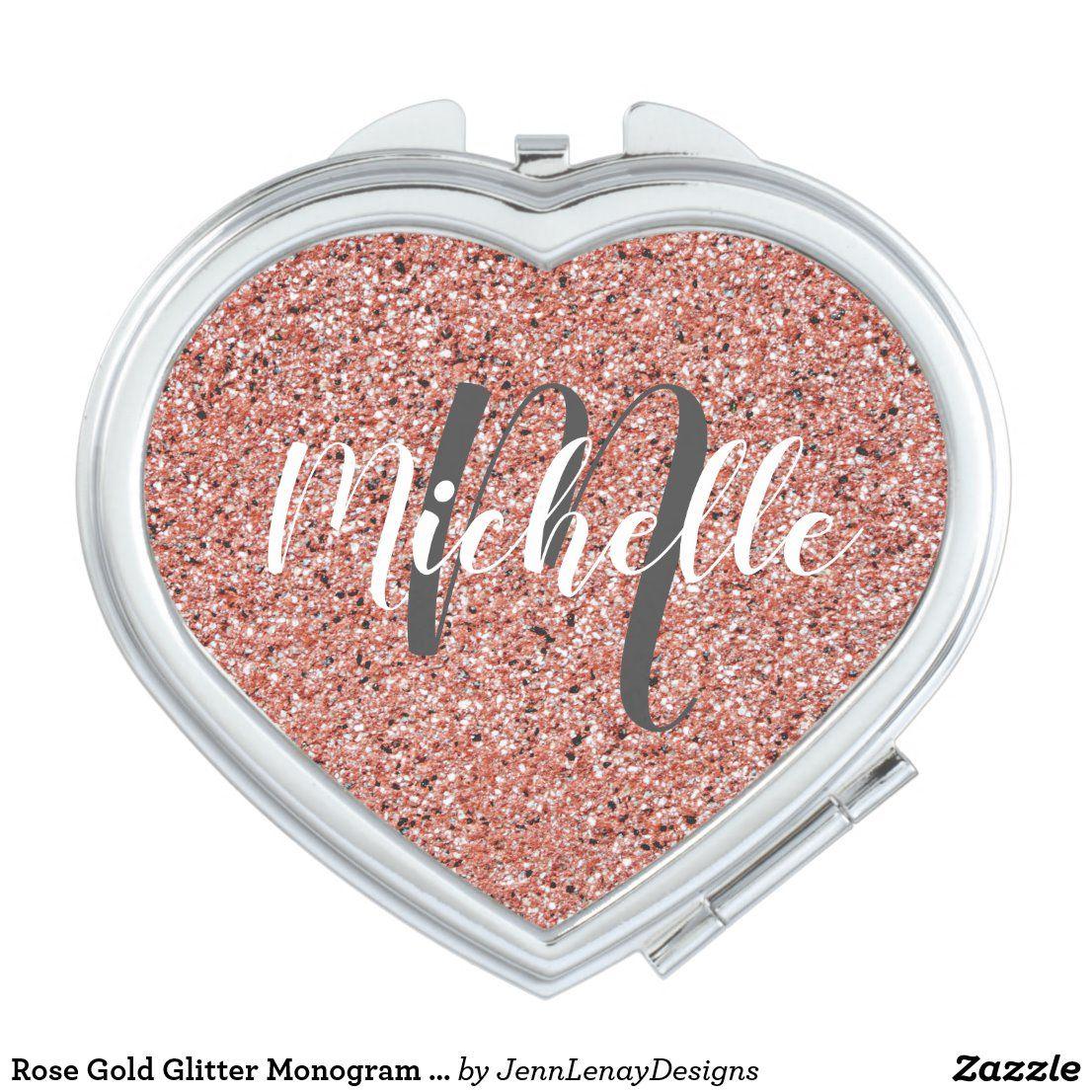 Rose Gold Glitter Monogram Name Cute Heart Compact Mirror | Zazzle.com