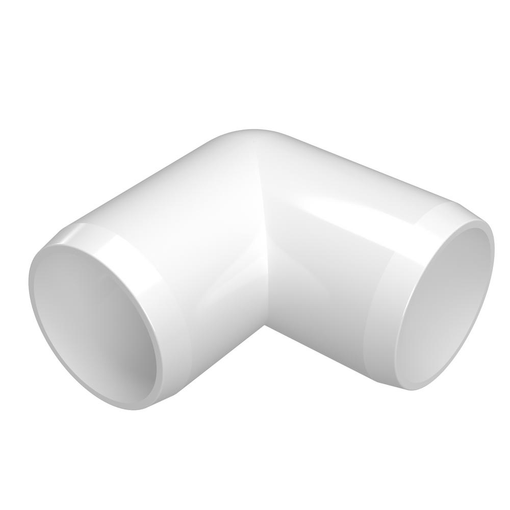 Formufit 3 4 In Furniture Grade Pvc External 2 Way Adjustable Fitting In White 2 Pack F034aex Wh 2 The Home Depot Pvc Fittings Furniture Grade Pvc Pvc